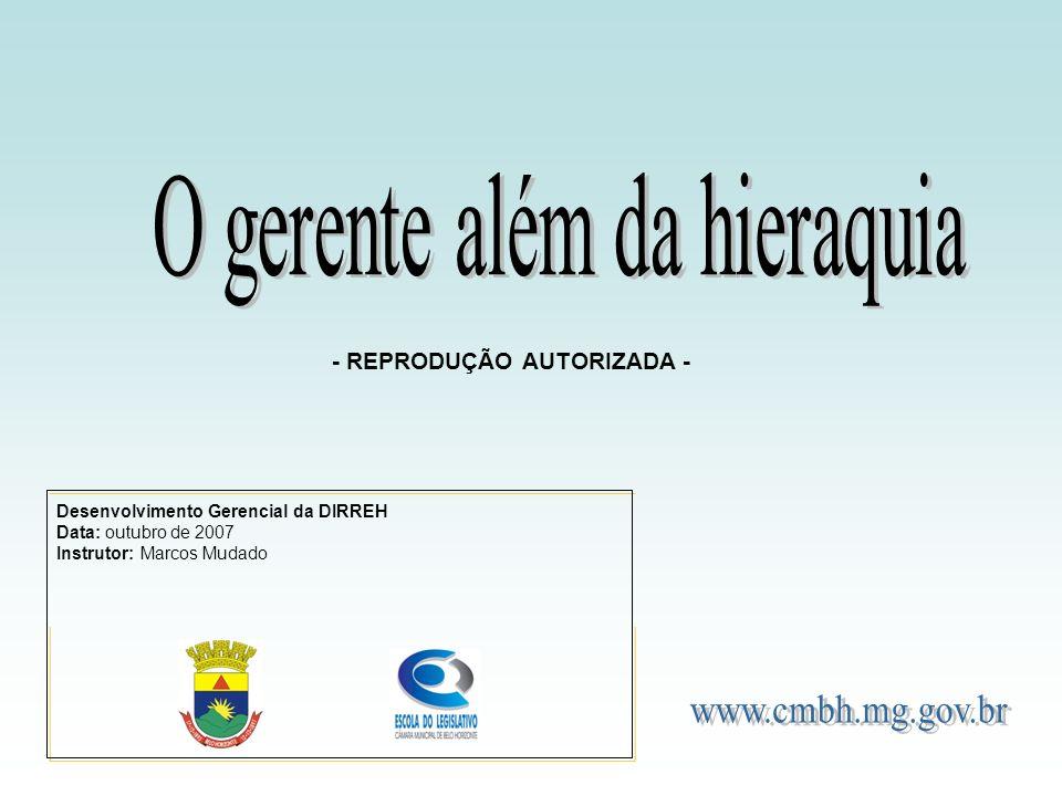 Desenvolvimento Gerencial da DIRREH Data: outubro de 2007 Instrutor: Marcos Mudado - REPRODUÇÃO AUTORIZADA -