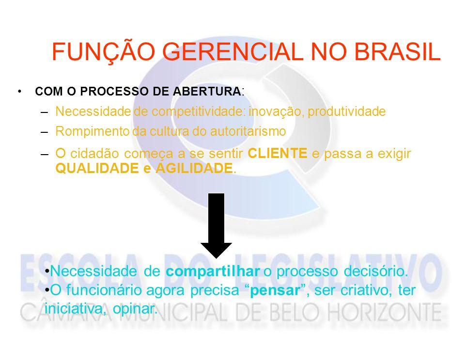 FUNÇÃO GERENCIAL NO BRASIL COM O PROCESSO DE ABERTURA : –Necessidade de competitividade: inovação, produtividade –Rompimento da cultura do autoritaris