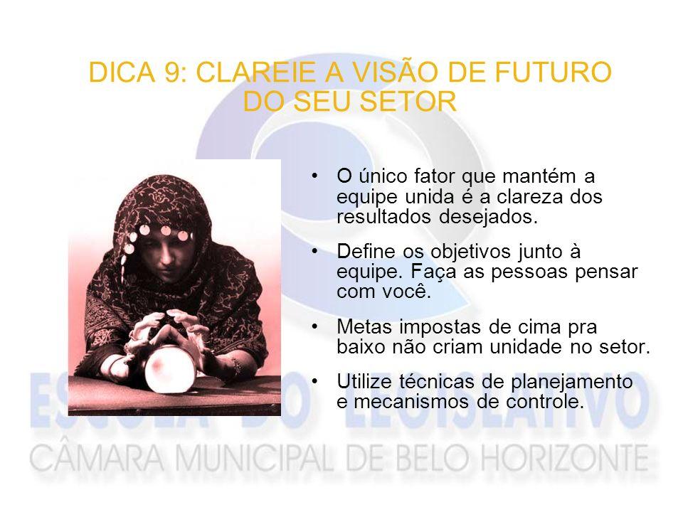 DICA 9: CLAREIE A VISÃO DE FUTURO DO SEU SETOR O único fator que mantém a equipe unida é a clareza dos resultados desejados. Define os objetivos junto
