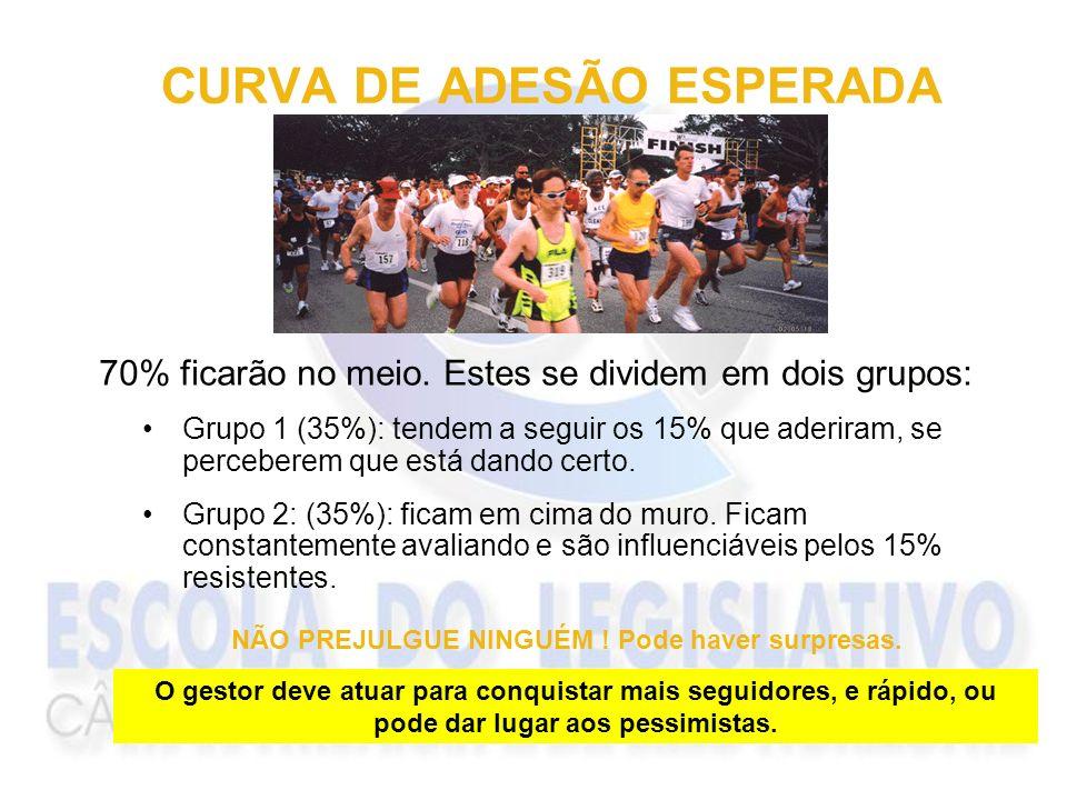 CURVA DE ADESÃO ESPERADA Grupo 1 (35%): tendem a seguir os 15% que aderiram, se perceberem que está dando certo. Grupo 2: (35%): ficam em cima do muro