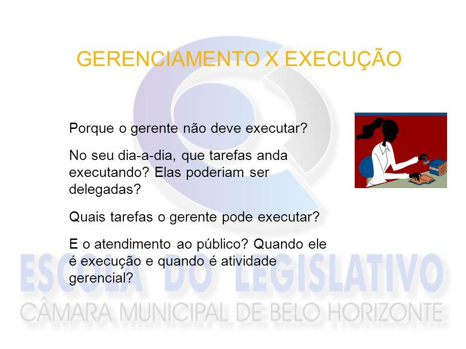 GERENCIAMENTO X EXECUÇÃO Porque o gerente não deve executar? No seu dia-a-dia, que tarefas anda executando? Elas poderiam ser delegadas? Quais tarefas