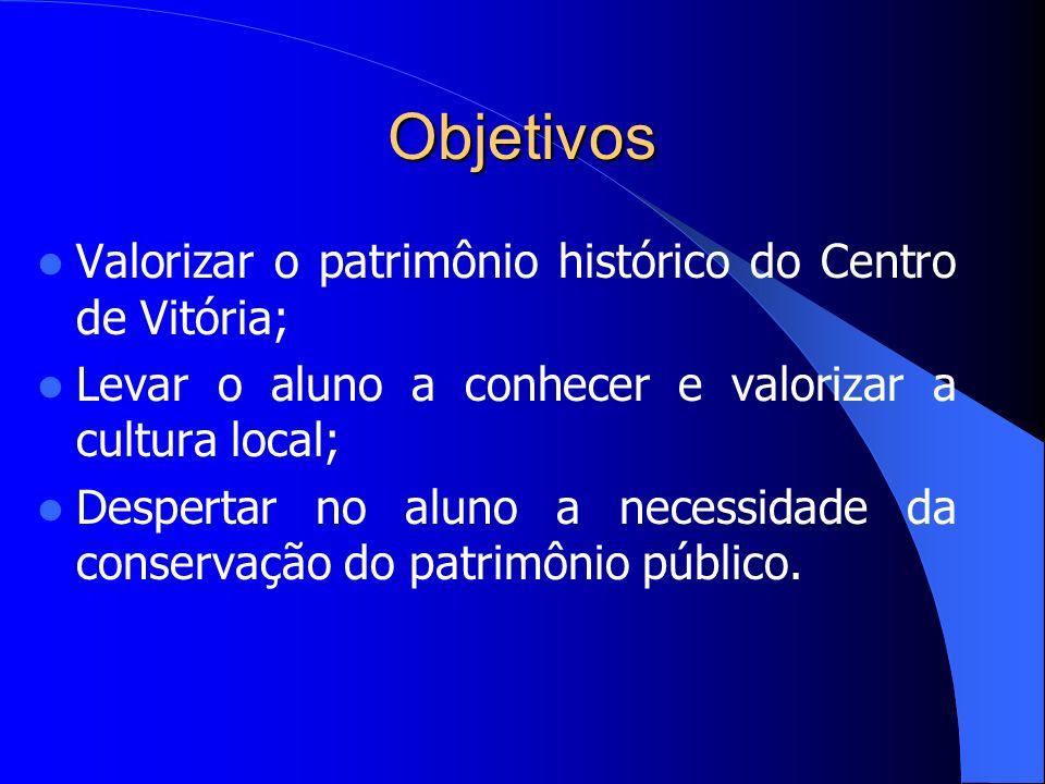 Objetivos Valorizar o patrimônio histórico do Centro de Vitória; Levar o aluno a conhecer e valorizar a cultura local; Despertar no aluno a necessidade da conservação do patrimônio público.