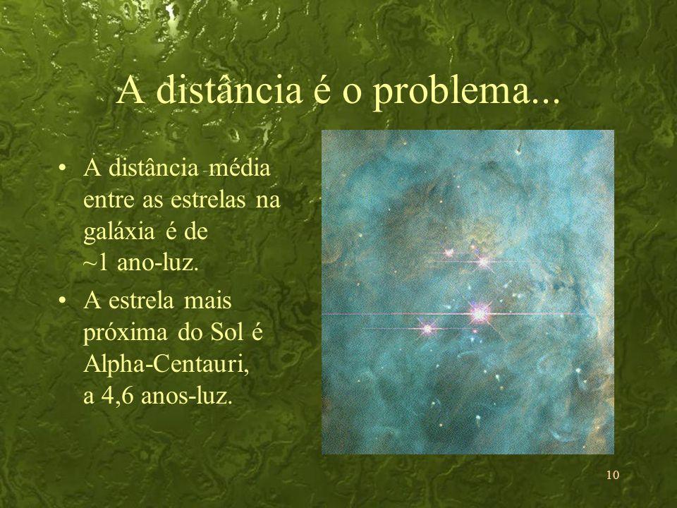 10 A distância é o problema... A distância média entre as estrelas na galáxia é de ~1 ano-luz. A estrela mais próxima do Sol é Alpha-Centauri, a 4,6 a