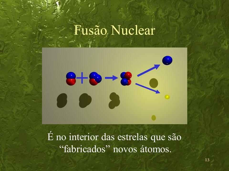 13 Fusão Nuclear É no interior das estrelas que são fabricados novos átomos.
