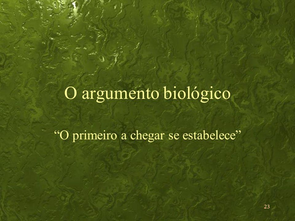23 O argumento biológico O primeiro a chegar se estabelece