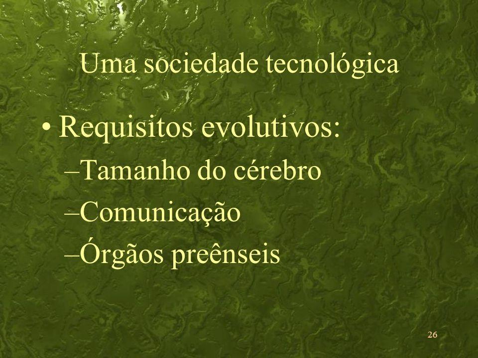 26 Uma sociedade tecnológica Requisitos evolutivos: –Tamanho do cérebro –Comunicação –Órgãos preênseis