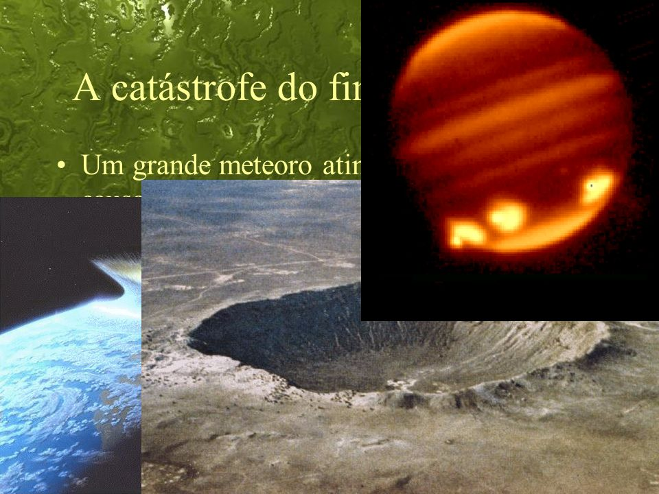 44 A catástrofe do fim do Cretáceo Um grande meteoro atingiu a Terra, causando a extinção de todas as espécies dos dinossauros.