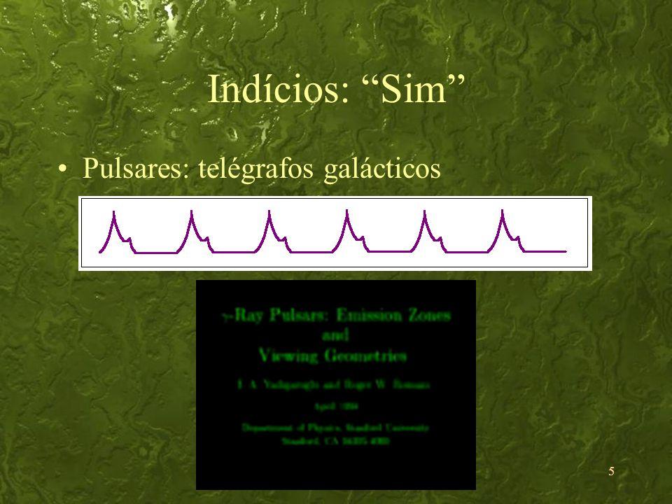 5 Indícios: Sim Pulsares: telégrafos galácticos