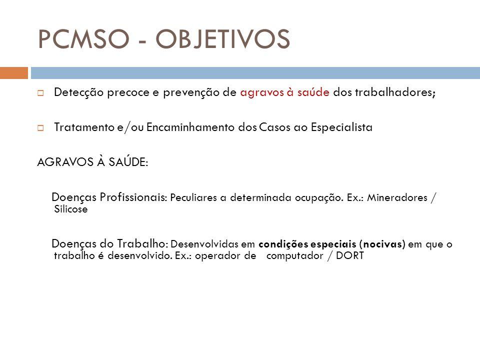 PCMSO - OBJETIVOS Detecção precoce e prevenção de agravos à saúde dos trabalhadores; Tratamento e/ou Encaminhamento dos Casos ao Especialista AGRAVOS