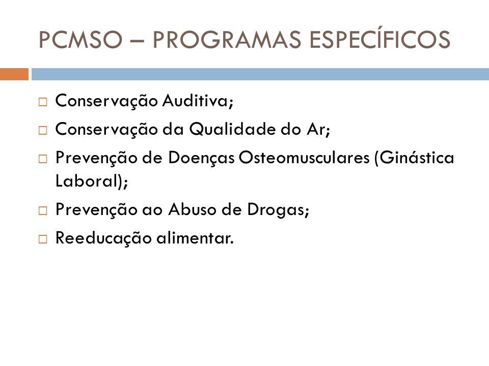 PCMSO – PROGRAMAS ESPECÍFICOS Conservação Auditiva; Conservação da Qualidade do Ar; Prevenção de Doenças Osteomusculares (Ginástica Laboral); Prevençã