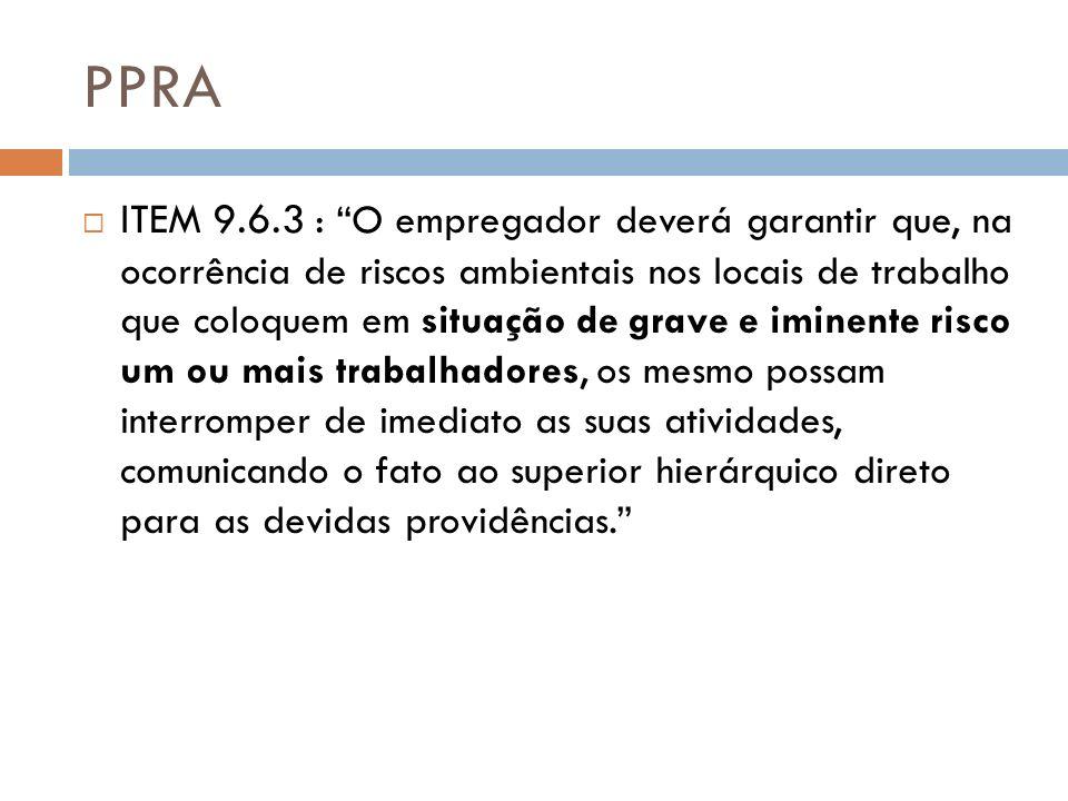 PPRA ITEM 9.6.3 : O empregador deverá garantir que, na ocorrência de riscos ambientais nos locais de trabalho que coloquem em situação de grave e imin
