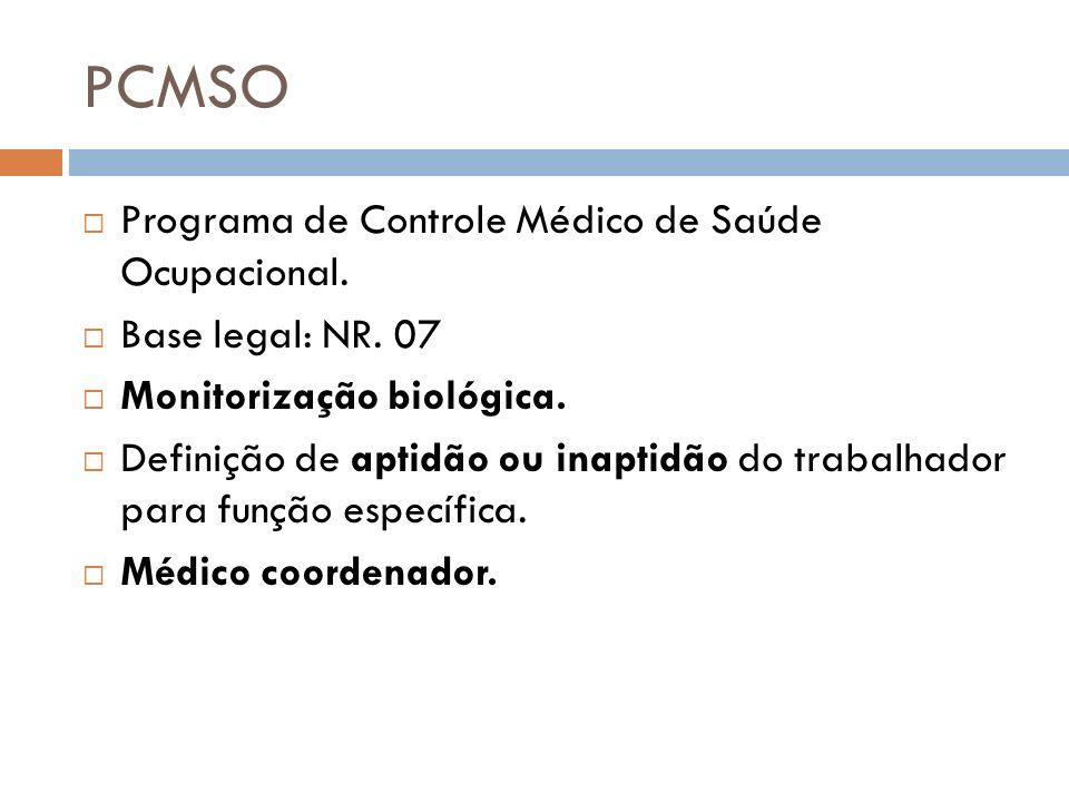 PCMSO Programa de Controle Médico de Saúde Ocupacional. Base legal: NR. 07 Monitorização biológica. Definição de aptidão ou inaptidão do trabalhador p