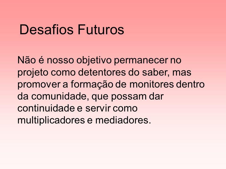 Desafios Futuros Não é nosso objetivo permanecer no projeto como detentores do saber, mas promover a formação de monitores dentro da comunidade, que possam dar continuidade e servir como multiplicadores e mediadores.