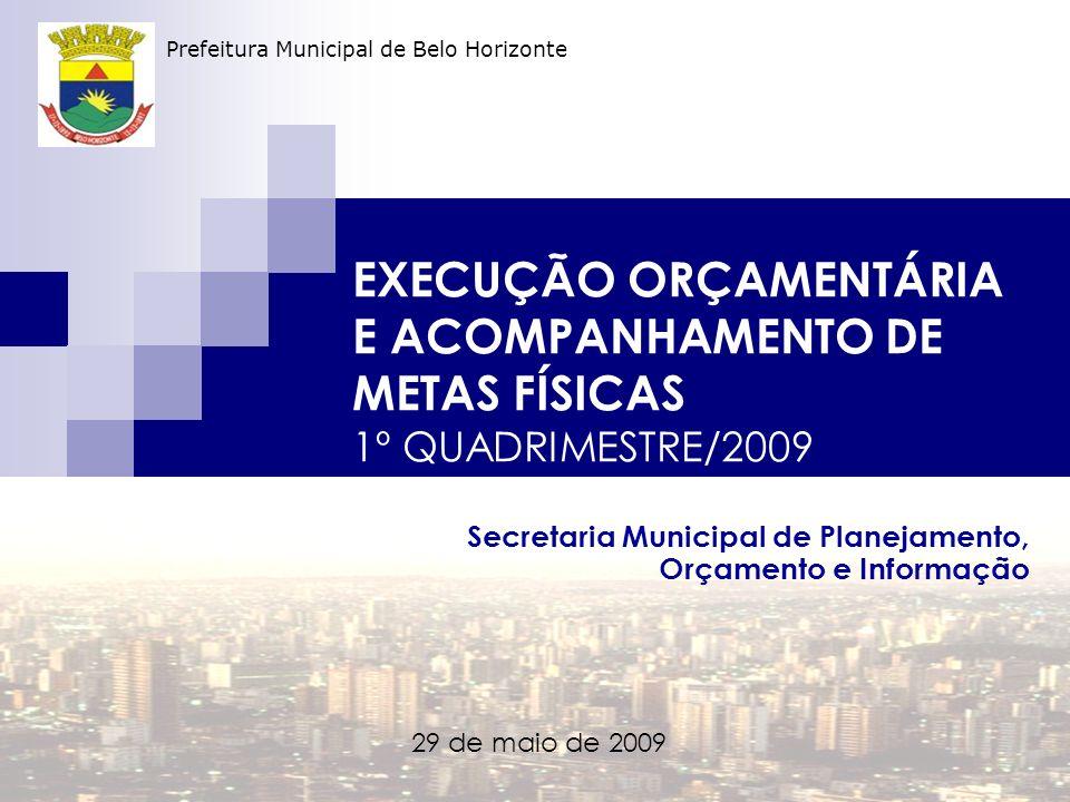 EXECUÇÃO ORÇAMENTÁRIA E ACOMPANHAMENTO DE METAS FÍSICAS 1º QUADRIMESTRE/2009 Secretaria Municipal de Planejamento, Orçamento e Informação 29 de maio de 2009 Prefeitura Municipal de Belo Horizonte