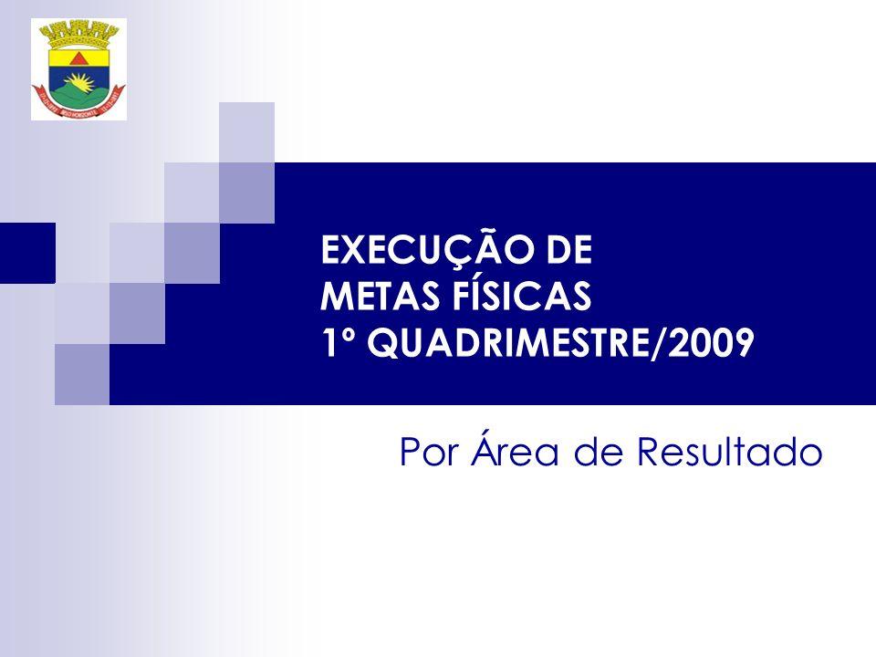 EXECUÇÃO DE METAS FÍSICAS 1º QUADRIMESTRE/2009 Por Área de Resultado