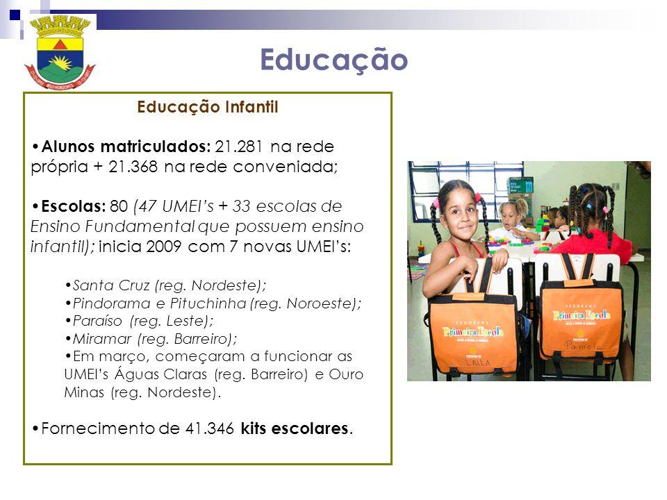 Educação Educação Infantil Alunos matriculados: 21.281 na rede própria + 21.368 na rede conveniada; Escolas: 80 (47 UMEIs + 33 escolas de Ensino Fundamental que possuem ensino infantil); inicia 2009 com 7 novas UMEIs: Santa Cruz (reg.