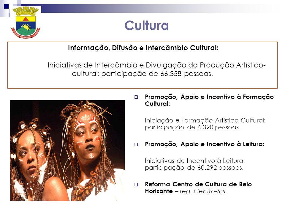 Cultura Promoção, Apoio e Incentivo à Formação Cultural: Iniciação e Formação Artístico Cultural: participação de 6.320 pessoas. Promoção, Apoio e Inc