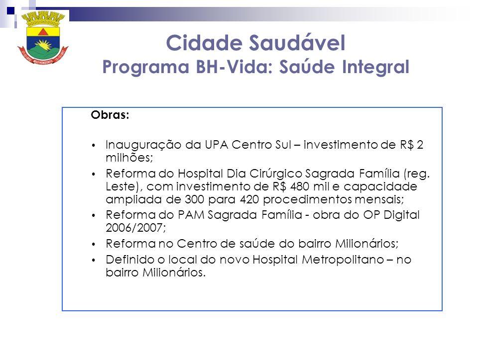 Cidade Saudável Programa BH-Vida: Saúde Integral Obras: Inauguração da UPA Centro Sul – investimento de R$ 2 milhões; Reforma do Hospital Dia Cirúrgic