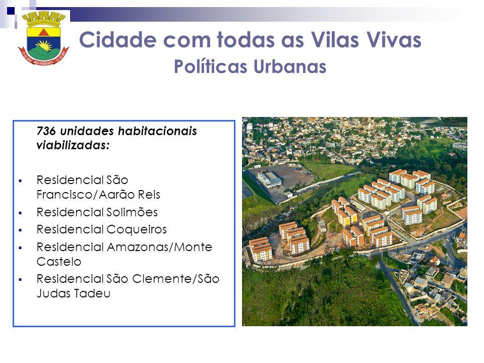 Cidade com todas as Vilas Vivas Políticas Urbanas 736 unidades habitacionais viabilizadas: Residencial São Francisco/Aarão Reis Residencial Solimões R