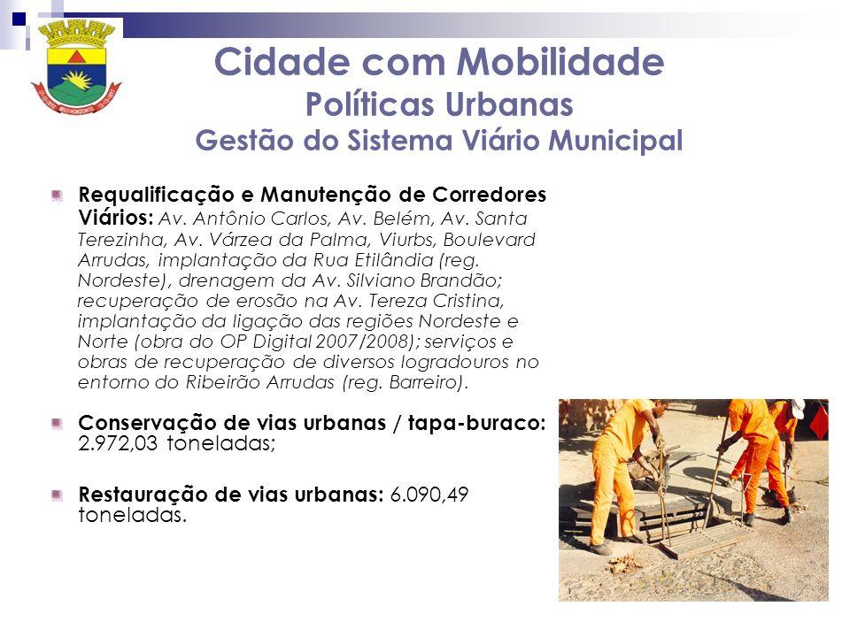 Cidade com Mobilidade Políticas Urbanas Gestão do Sistema Viário Municipal Requalificação e Manutenção de Corredores Viários: Av. Antônio Carlos, Av.