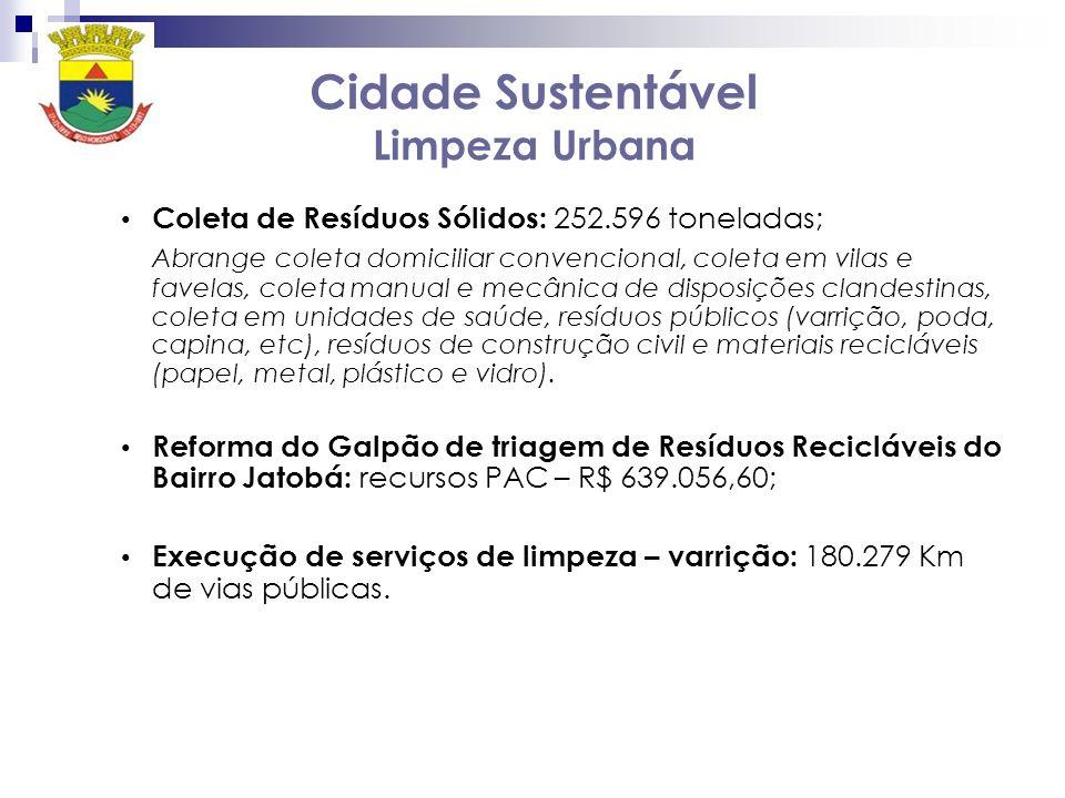 Cidade Sustentável Limpeza Urbana Coleta de Resíduos Sólidos: 252.596 toneladas; Abrange coleta domiciliar convencional, coleta em vilas e favelas, co
