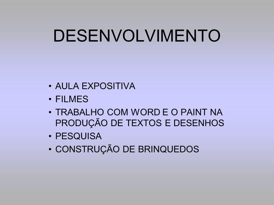 DESENVOLVIMENTO AULA EXPOSITIVA FILMES TRABALHO COM WORD E O PAINT NA PRODUÇÃO DE TEXTOS E DESENHOS PESQUISA CONSTRUÇÃO DE BRINQUEDOS