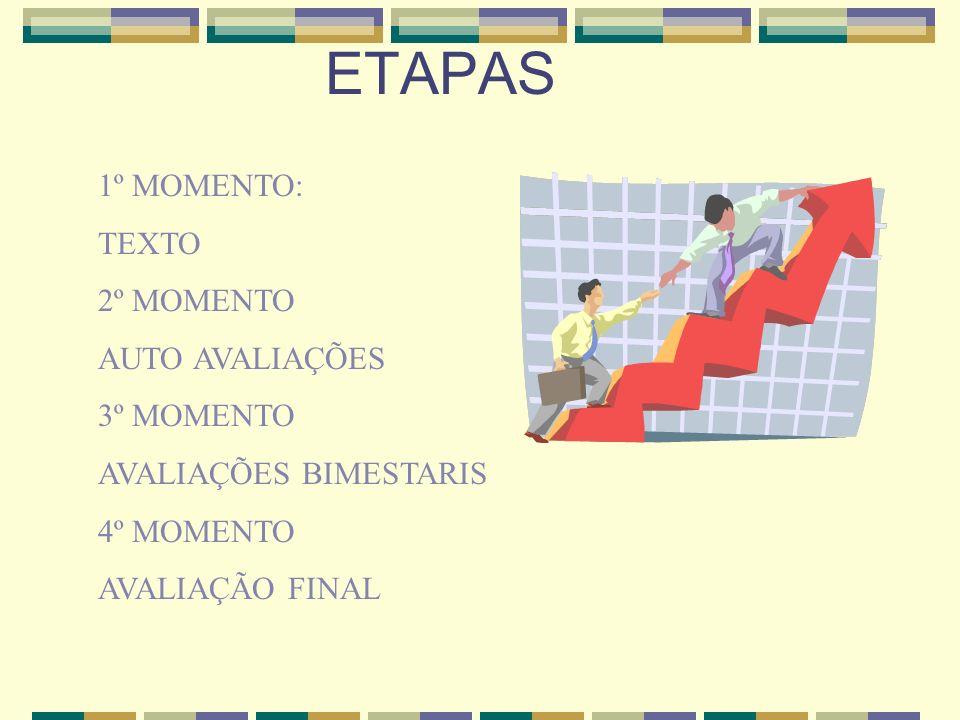 1º MOMENTO: TEXTO 2º MOMENTO AUTO AVALIAÇÕES 3º MOMENTO AVALIAÇÕES BIMESTARIS 4º MOMENTO AVALIAÇÃO FINAL ETAPAS