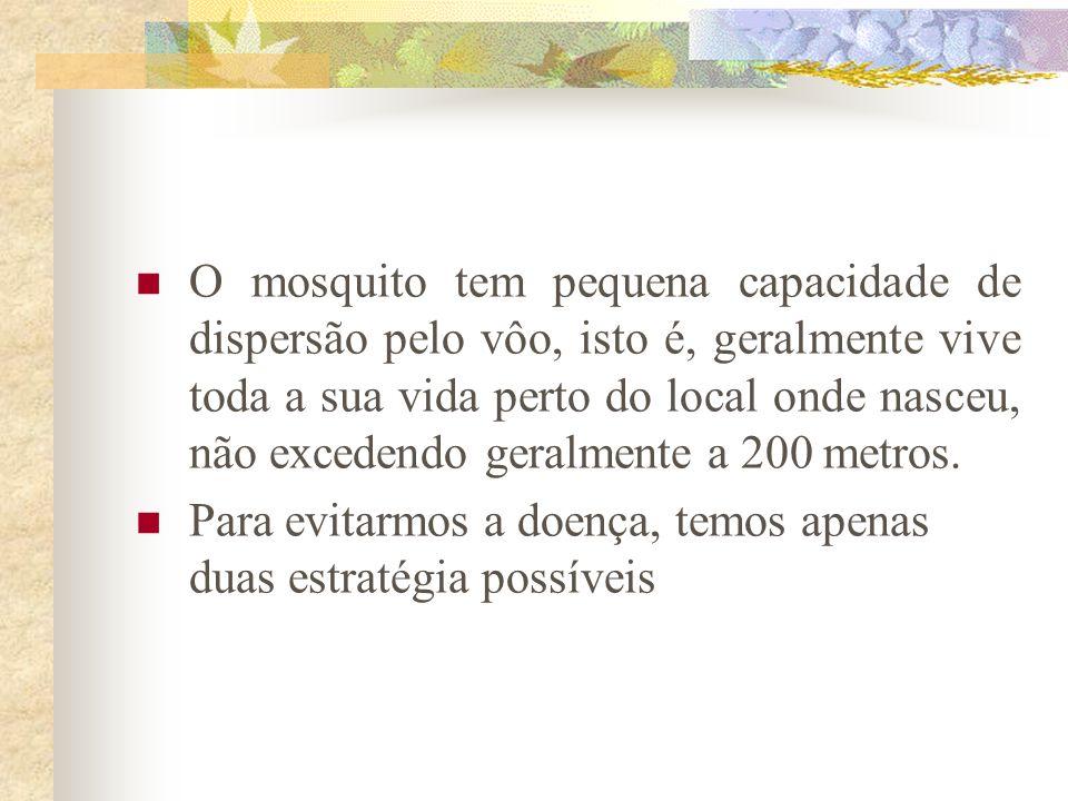 O mosquito tem pequena capacidade de dispersão pelo vôo, isto é, geralmente vive toda a sua vida perto do local onde nasceu, não excedendo geralmente
