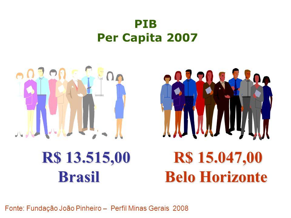Fonte: Fundação João Pinheiro – Perfil Minas Gerais 2008 PIB Per Capita 2007 R$ 13.515,00 R$ 13.515,00Brasil R$ 15.047,00 R$ 15.047,00 Belo Horizonte