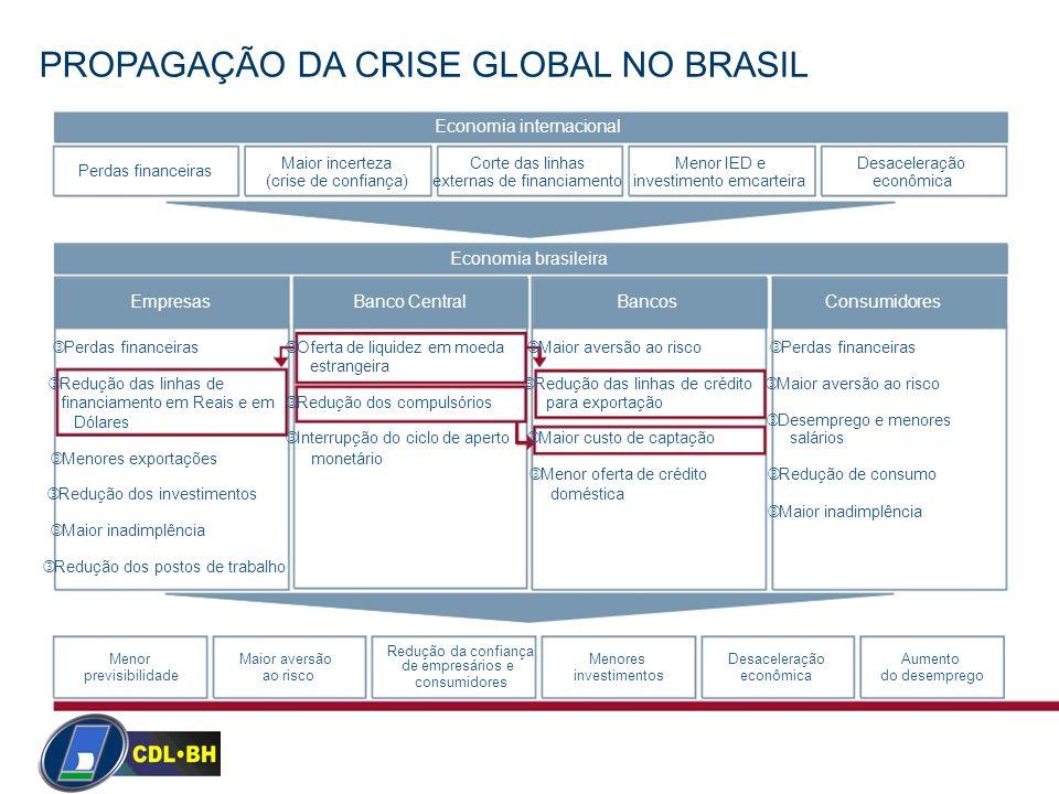PROPAGAÇÃO DA CRISE GLOBAL NO BRASIL Economia internacional Maior incertezaCorte das linhasMenor IED eDesaceleração Perdas financeiras (crise de confi