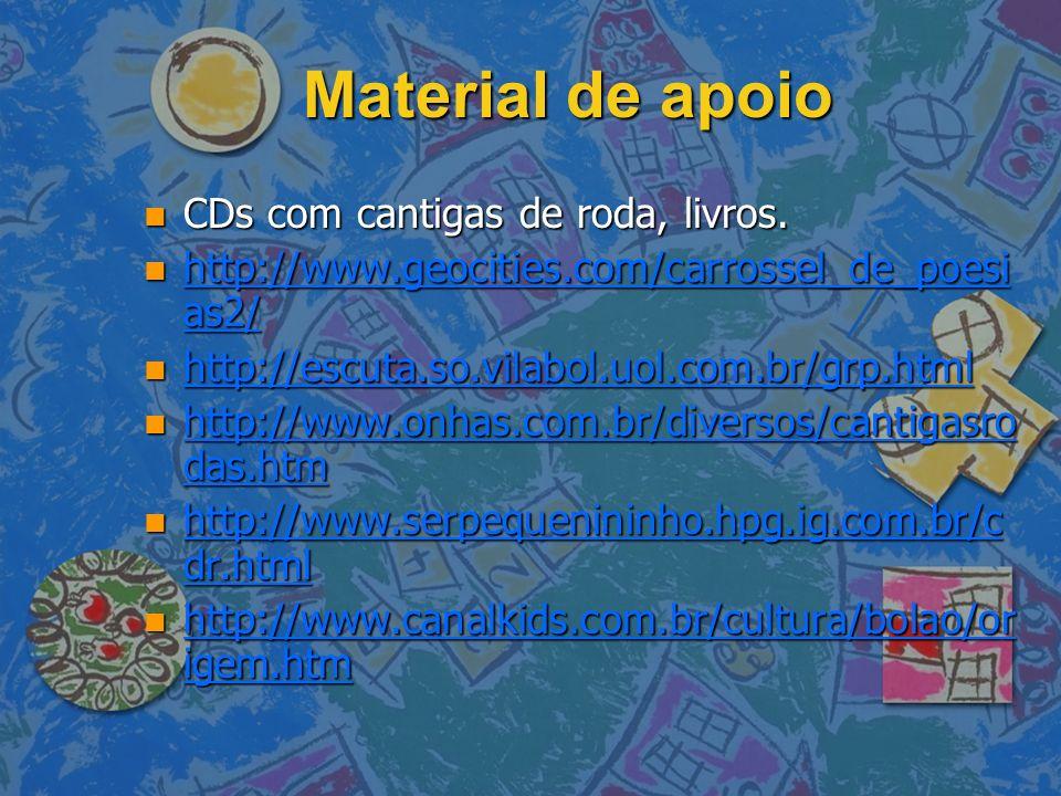 Material de apoio n CDs com cantigas de roda, livros. n http://www.geocities.com/carrossel_de_poesi as2/ http://www.geocities.com/carrossel_de_poesi a