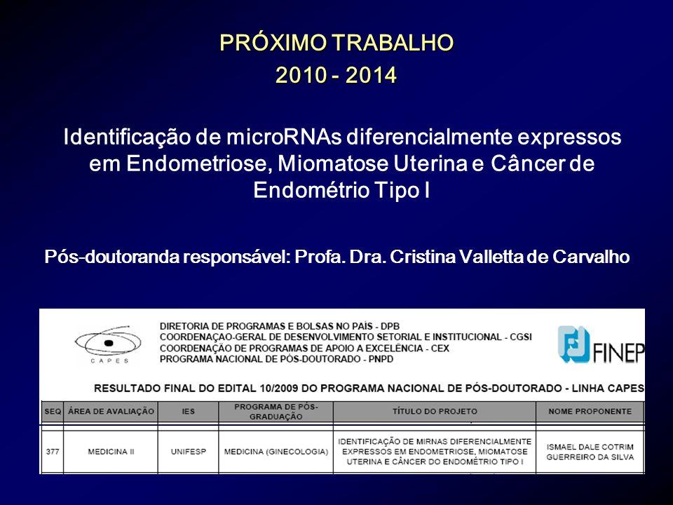 Identificação de microRNAs diferencialmente expressos em Endometriose, Miomatose Uterina e Câncer de Endométrio Tipo I PRÓXIMO TRABALHO 2010 - 2014 Pó