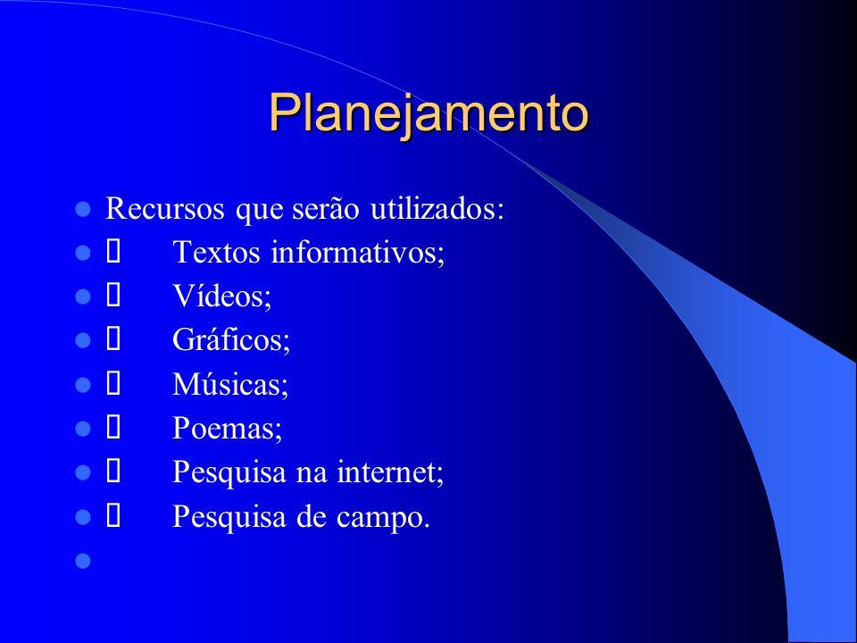 Planejamento Recursos que serão utilizados: Textos informativos; Vídeos; Gráficos; Músicas; Poemas; Pesquisa na internet; Pesquisa de campo.