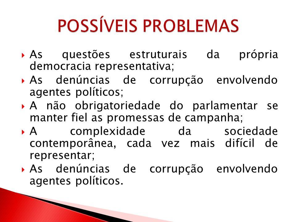 As questões estruturais da própria democracia representativa; As denúncias de corrupção envolvendo agentes políticos; A não obrigatoriedade do parlame