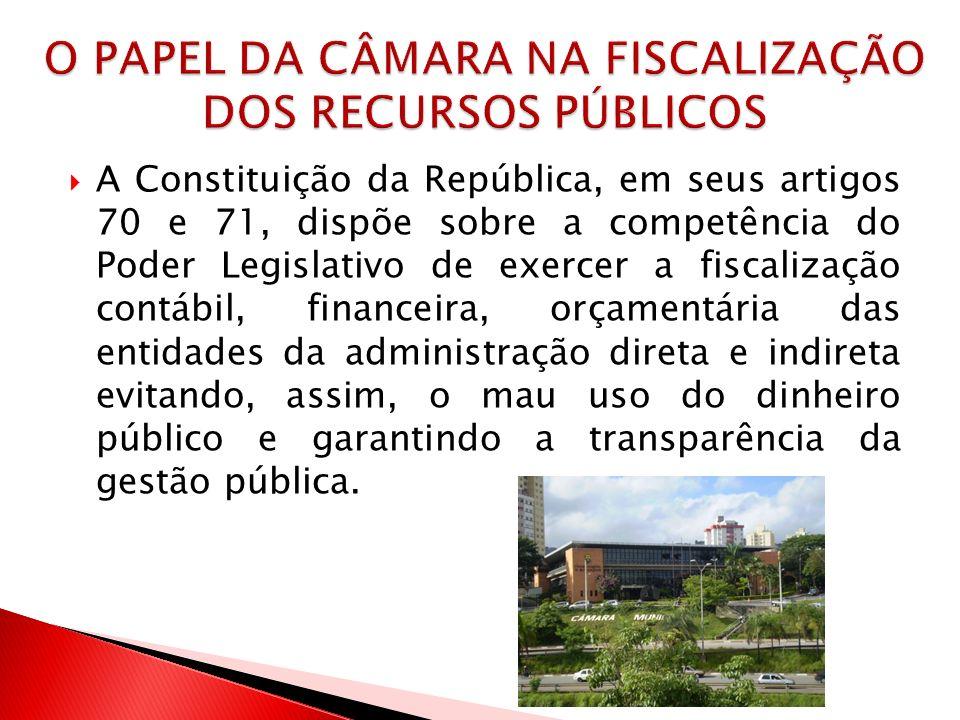 A Constituição da República, em seus artigos 70 e 71, dispõe sobre a competência do Poder Legislativo de exercer a fiscalização contábil, financeira,