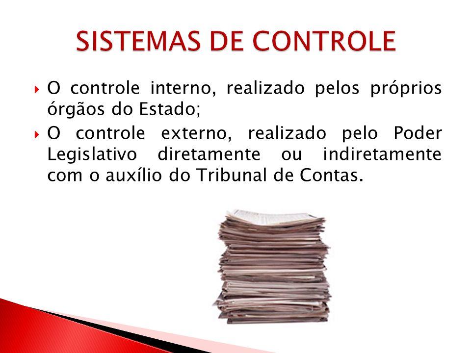 O controle interno, realizado pelos próprios órgãos do Estado; O controle externo, realizado pelo Poder Legislativo diretamente ou indiretamente com o