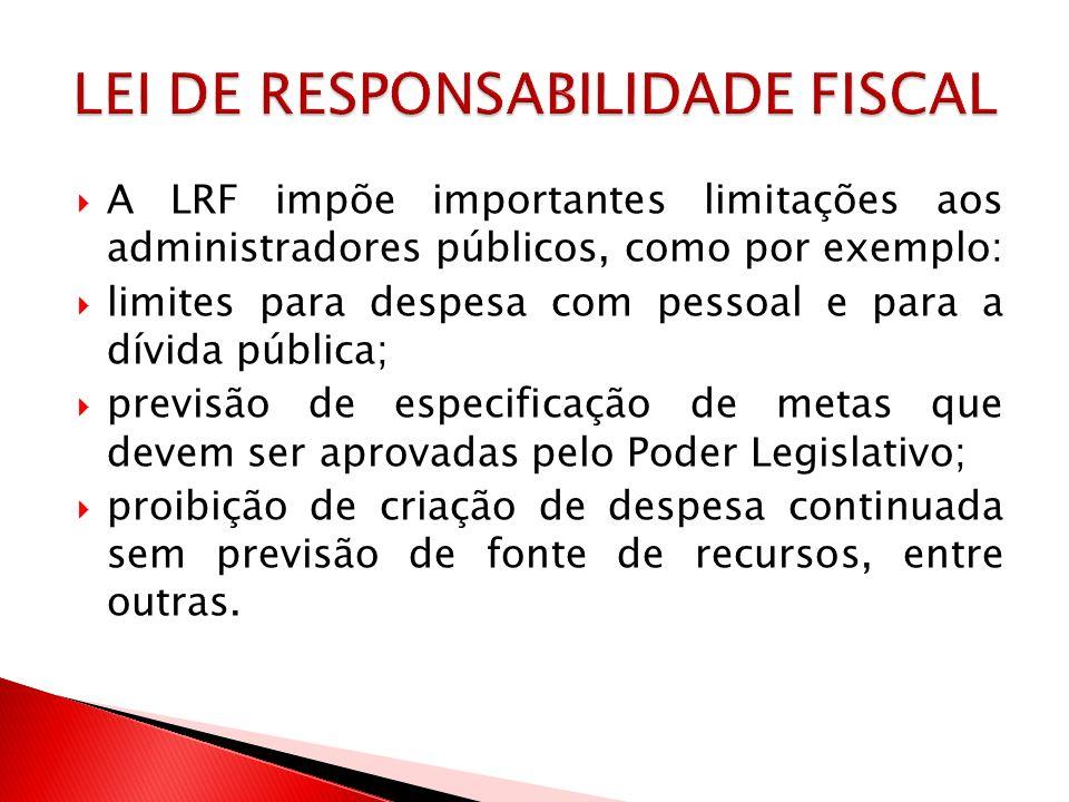 A LRF impõe importantes limitações aos administradores públicos, como por exemplo: limites para despesa com pessoal e para a dívida pública; previsão
