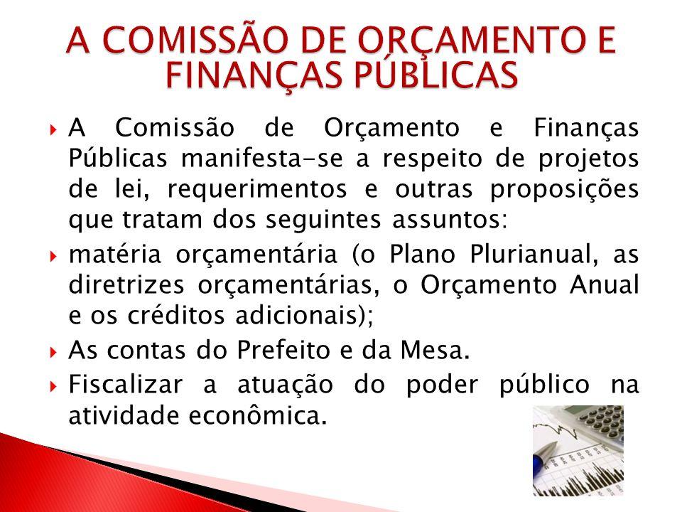 A Comissão de Orçamento e Finanças Públicas manifesta-se a respeito de projetos de lei, requerimentos e outras proposições que tratam dos seguintes as