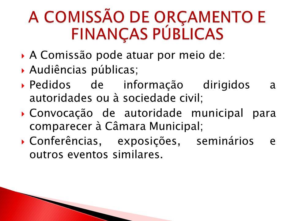 A Comissão pode atuar por meio de: Audiências públicas; Pedidos de informação dirigidos a autoridades ou à sociedade civil; Convocação de autoridade m