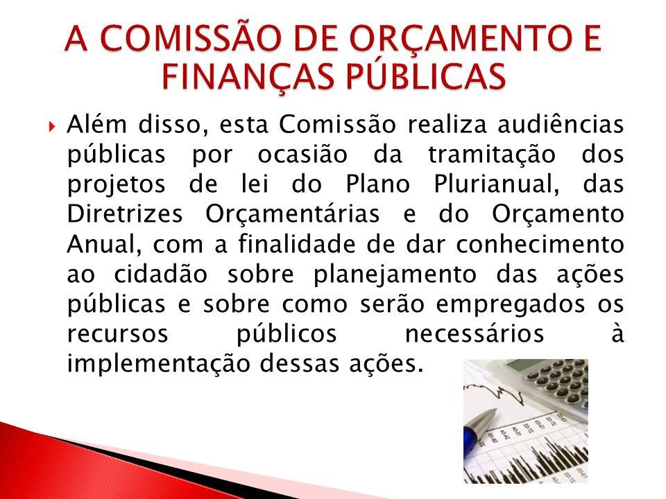 Além disso, esta Comissão realiza audiências públicas por ocasião da tramitação dos projetos de lei do Plano Plurianual, das Diretrizes Orçamentárias