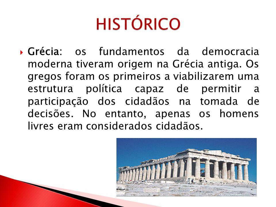 Século XVIII: a democracia representativa ganha força com surgimento do processo eleitoral e a consolidação da separação entre Estado e sociedade.