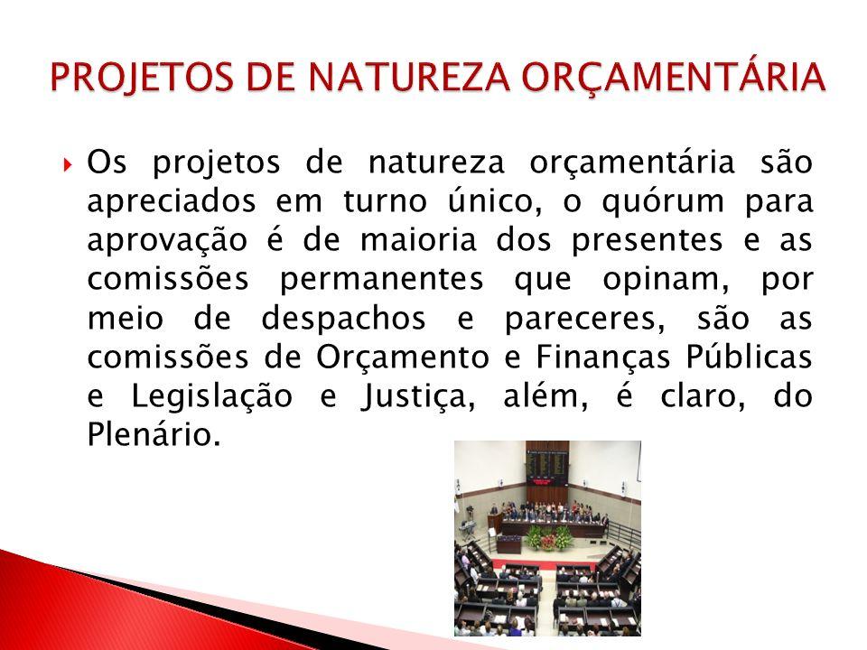 Os projetos de natureza orçamentária são apreciados em turno único, o quórum para aprovação é de maioria dos presentes e as comissões permanentes que
