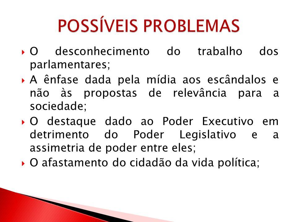 O desconhecimento do trabalho dos parlamentares; A ênfase dada pela mídia aos escândalos e não às propostas de relevância para a sociedade; O destaque