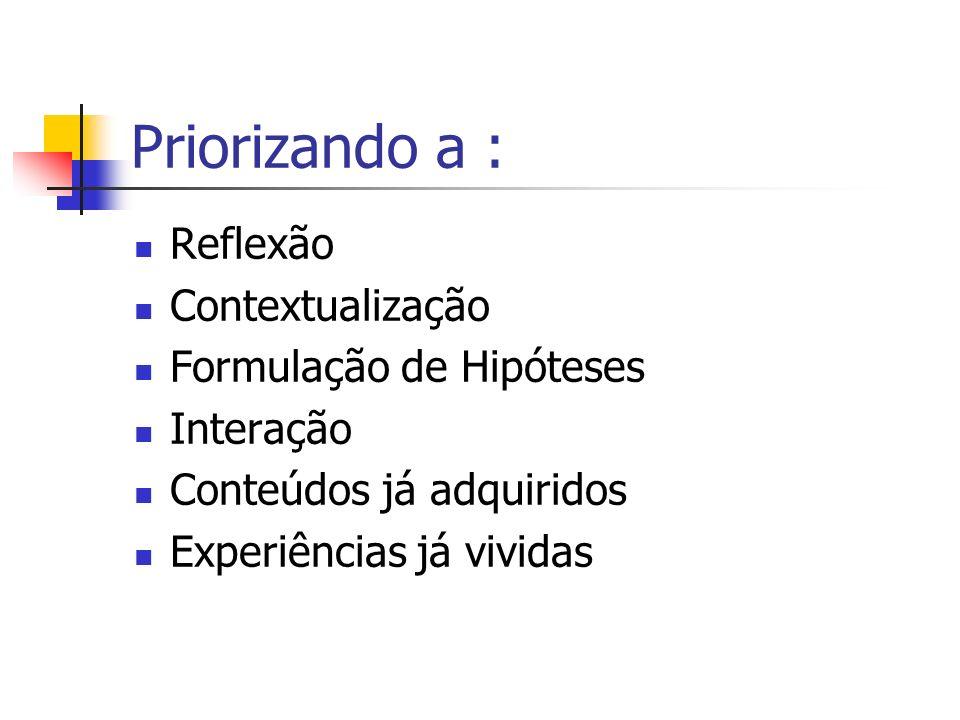 Priorizando a : Reflexão Contextualização Formulação de Hipóteses Interação Conteúdos já adquiridos Experiências já vividas