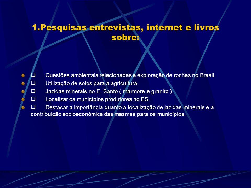 1.Pesquisas entrevistas, internet e livros sobre: Questões ambientais relacionadas a exploração de rochas no Brasil. Utilização de solos para a agricu