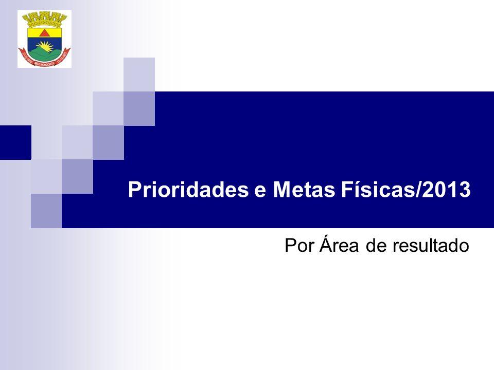 Por Área de resultado Prioridades e Metas Físicas/2013