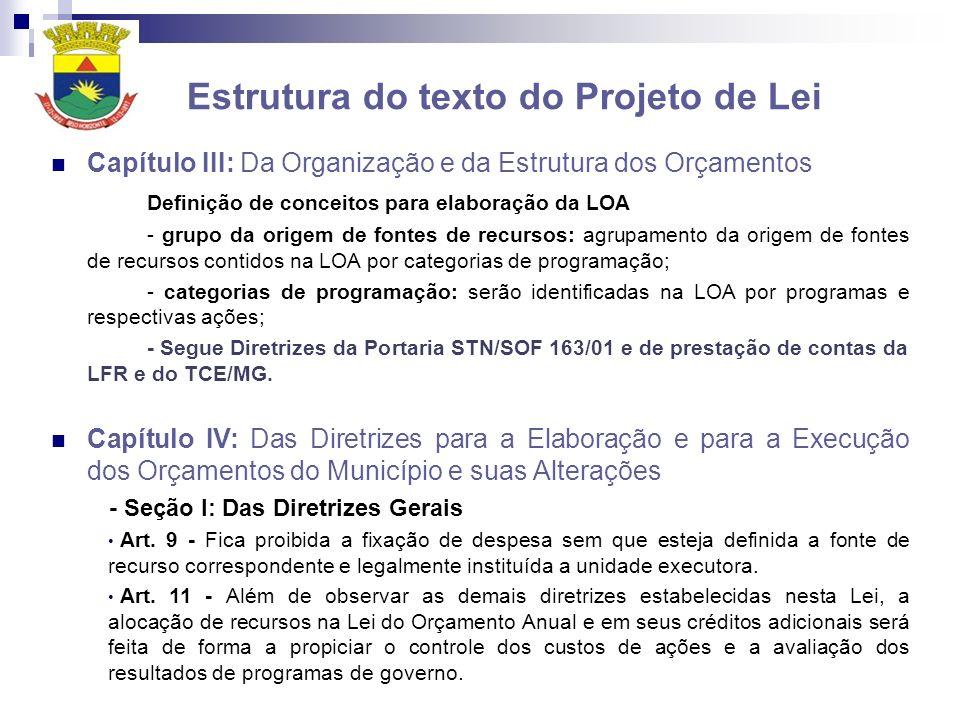 Estrutura do texto do Projeto de Lei Capítulo III: Da Organização e da Estrutura dos Orçamentos Definição de conceitos para elaboração da LOA - grupo da origem de fontes de recursos: agrupamento da origem de fontes de recursos contidos na LOA por categorias de programação; - categorias de programação: serão identificadas na LOA por programas e respectivas ações; - Segue Diretrizes da Portaria STN/SOF 163/01 e de prestação de contas da LFR e do TCE/MG.