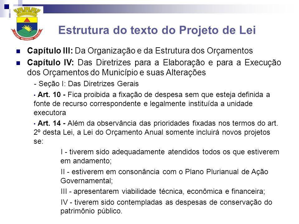 Estrutura do texto do Projeto de Lei Capítulo III: Da Organização e da Estrutura dos Orçamentos Capítulo IV: Das Diretrizes para a Elaboração e para a