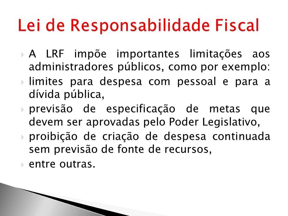 A LRF impõe importantes limitações aos administradores públicos, como por exemplo: limites para despesa com pessoal e para a dívida pública, previsão