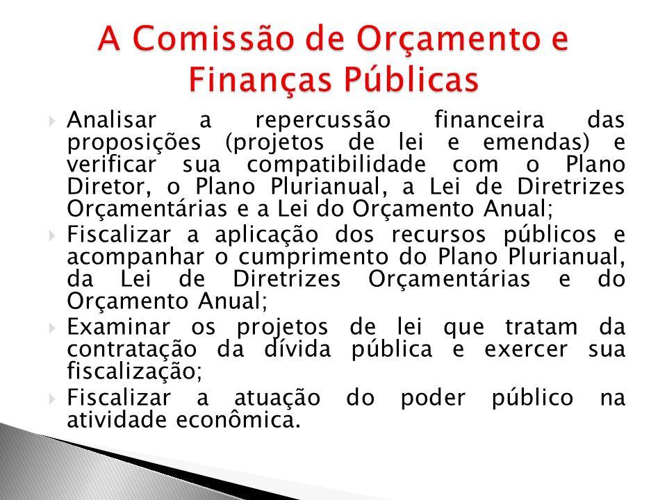 Analisar a repercussão financeira das proposições (projetos de lei e emendas) e verificar sua compatibilidade com o Plano Diretor, o Plano Plurianual,